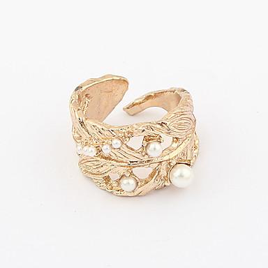patrón de la hoja de la perla de las mujeres chapado en oro de apertura del anillo de aleación