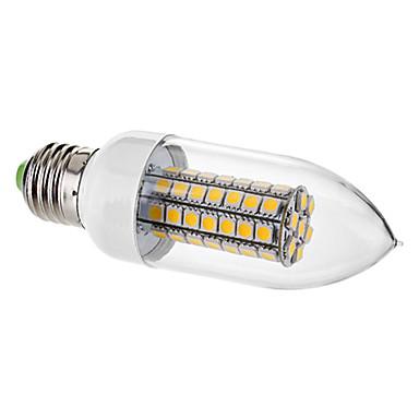 E26/E27 LED-lysestakepærer C35 63 SMD 5050 650 lm Varm hvit Dekorativ AC 220-240 V