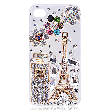 Zircon Eiffel Tower and Perfume Bottle Hard Case for iPhone4/4S