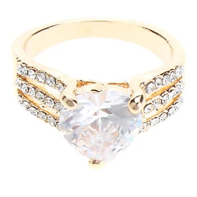 En forma de corazón circón anillo de diamante