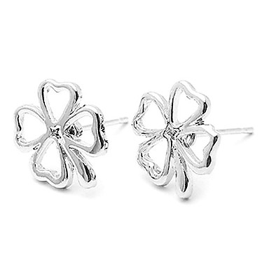 Women's Stud Earrings Classic Simple Style Alloy Leaf Four Leaf Clover Jewelry Daily