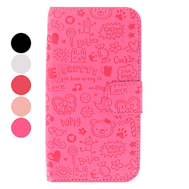 For Samsung Galaxy Case Wallet / Card Holder / with Stand / Flip / Pattern Case Full Body Case Cartoon PU Leather Samsung S4