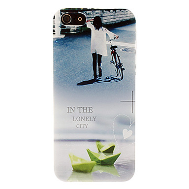 Lonely Girl and Her Bicycle Pattern Hard Case for iPhone 5/5S