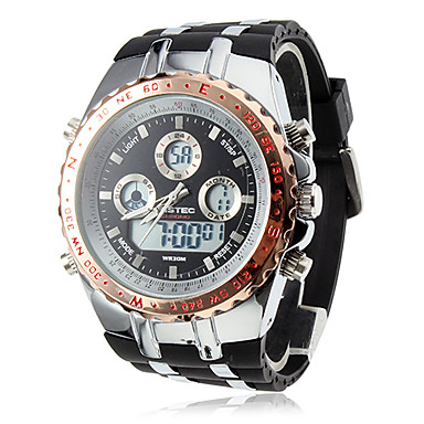 Men's Analog-Digital Multi-Functional Gold Steel Case Black Rubber Band Wrist Watch