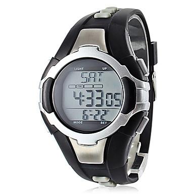 Erkek Spor Saat Dijital Alarm Takvim Kronograf Su Resisdansı Nabız Metre LCD Bant Siyah