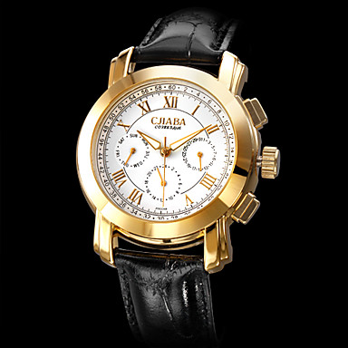 Men's Auto-Mechanical Gold Case Black PU Band Analog Wrist Watch (Assorted Dial Colors) Cool Watch Unique Watch