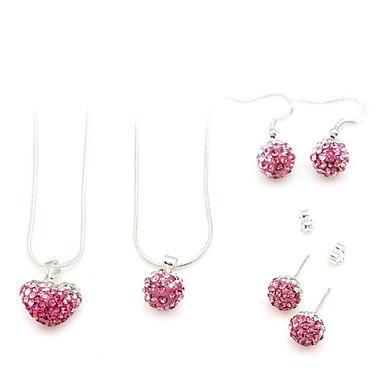 smycken set (rosa 2 halsband och 2 par örhängen)