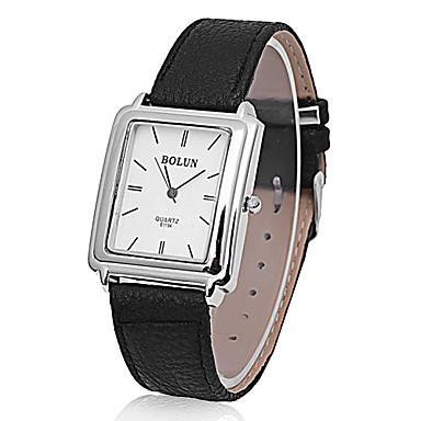 Unisexe Forme carrée style cuir PU analogique montre bracelet à quartz Casual (Black)
