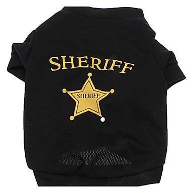 Köpek Tişört Köpek Giyimi Harf & Sayı Polis/Ordu Siyah Terylene Kostüm Evcil hayvanlar için