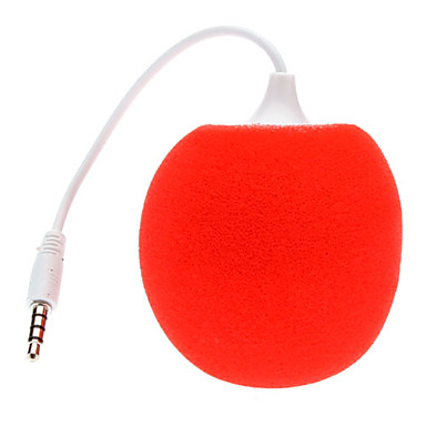 3.5mm Mini Sponge Sphere Audio Dock Stero Speaker with Audio Female Connector to USB Cable for iPhone 5 and Others (23cm)