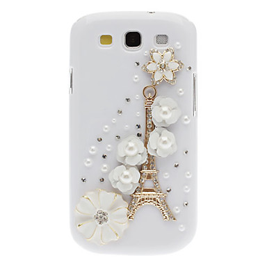 Bling Bling Noble Eiffel and Flower Design Hard Case with Rhinestone for Samsung Galaxy S3 I9300