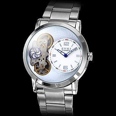 Reloj de los hombres de plata de la caja de acero analógico de pulsera mecánico (Plata)