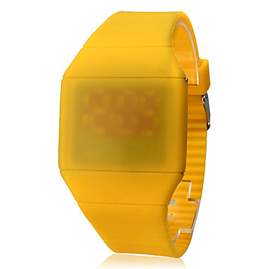 Unisex Touch Screen Rubber Digital LED Wrist Watch (Yellow)