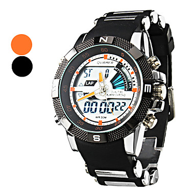 Men's Analog-Digital Multi-Functional White Round Dial Black Band Wrist Watch (Assorted Colors) Cool Watch Unique Watch