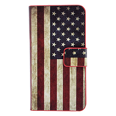 The Stars and the Stripes Pattern Full Body Case with Card Slot and Built-in Matte PC Back Cover for iPhone 4/4S