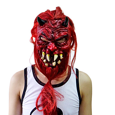 Red Devil Mask with Head Cover for Halloween Costume Party