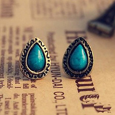 Women's Stud Earrings - Cross, Drop, Flower Vintage, Carved, Folk Style Blue For Party / Daily