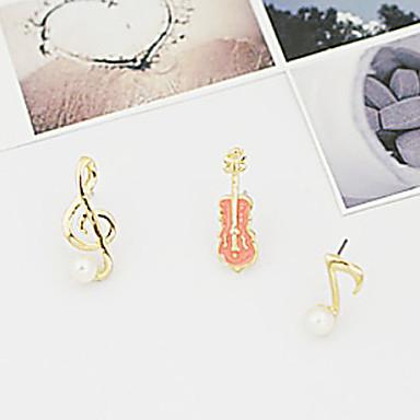 Vidali Küpeler İnci alaşım Müzik notaları Mücevher Için Parti Günlük