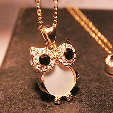 Women's Pendant Necklace / Long Necklace - Rhinestone, Shell Owl Vintage, European, Fashion Golden Necklace For Party, Gift, Daily