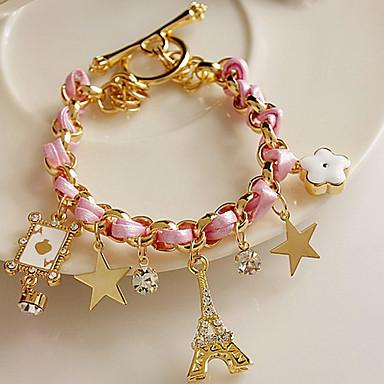 Z&X® Stars flowers hearts leather cord Eiffel Tower crystal bracelet
