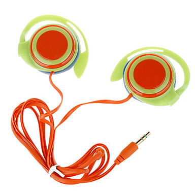 Trendy Ear Hook Stereo Earphones-Green+Orange(3.5mm-Plug/120cm-Cable)