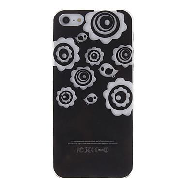 Çiçek ve Kuş Desen iPhone5 Flash Sert Plastik Arka Kapak Kılıf LED