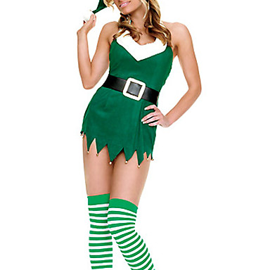 Costume Moș Costume Cosplay Pentru femei Crăciun Festival / Sărbătoare Catifea cord Costume de Carnaval Peteci
