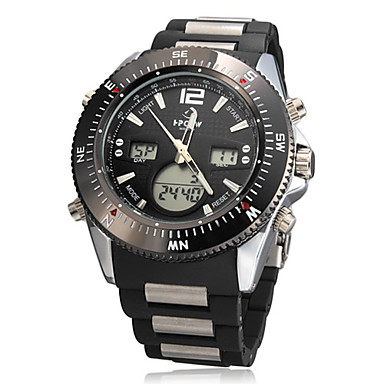 Men's Multi-Functional Steel Dial Plastic Band Quartz Analog Wrist Watch