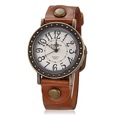 Kadın's Bilek Saati Elbise Saat Moda Saat Quartz Silikon Bant Vintage Siyah Beyaz Mavi Kırmızı Kahverengi