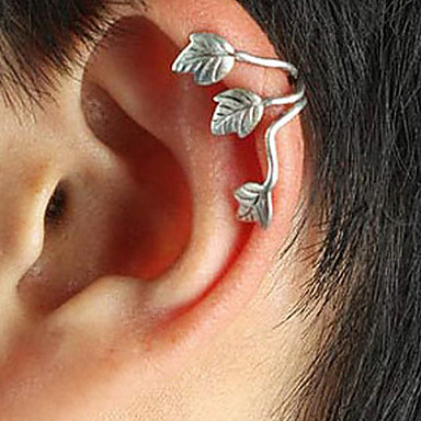 Pentru femei Cătușe pentru urechi Leaf Shape femei Punk European Argilă cercei Bijuterii Auriu / Argintiu Pentru Zilnic 1 buc