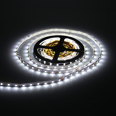 5M 24W 60x3528SMD 900-1200LM 6000-7000K Cool White Light LED Strip Light with 12V 2A Adapter