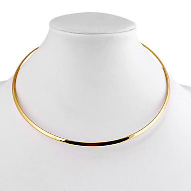Women's Choker Necklace  -  Simple Style Circle Geometric Silver Golden Necklace For Daily Casual
