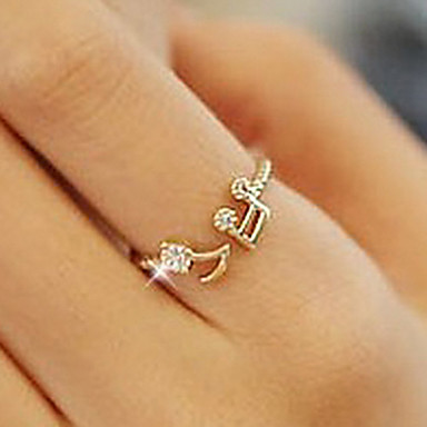 Women's Band Ring Silver Golden Rhinestone Alloy Music Notes Love Open Cute Style Adjustable Party Daily Casual Costume Jewelry