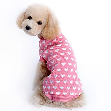 cheap Dog Clothing & Accessories-Sweater Dog Clothes Heart Pink Woolen Costume For Husky Labrador Golden Retriever Winter Girls' Keep Warm