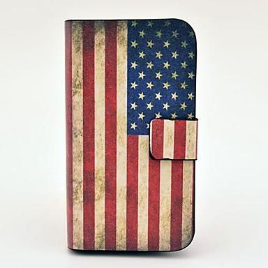 Housse en cuir PU Vintage Motif drapeau américain avec Magnetic Snap et logement pour carte pour Samsung Galaxy S3 mini-I8190
