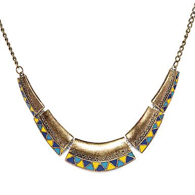 Kadın's Gerdanlıklar Vintage Kolye  -  Moda Trójkąt Geometric Shape Mavi / Sarı Kolyeler Uyumluluk Parti Günlük