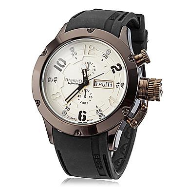 Men's Black Steel Case Silicone Band Quartz Analog Wrist Watch (Assorted Colors) Cool Watch Unique Watch