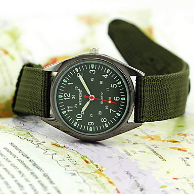Men's Quartz Wrist Watch Military Watch Water Resistant / Water Proof Fabric Band Black Green