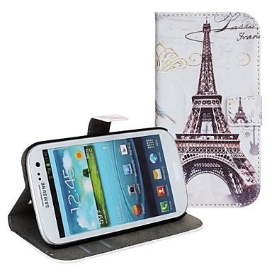 Için Samsung Galaxy Kılıf Kart Tutucu / Satandlı / Flip / Temalı Pouzdro Tam Kaplama Pouzdro Eiffel Kulesi PU Deri Samsung S2