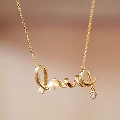 Kadın's Uçlu Kolyeler - Kalp, Aşk minimalist tarzı Gümüş, Altın Kolyeler Mücevher Uyumluluk Parti, Doğumgünü, Hediye