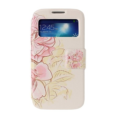 Samsung Galaxy S4 i9500 Stand ile Pembe Çiçekler Full Body Kılıf