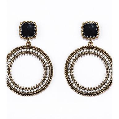 Damla Küpeler Halka Küpeler lüks mücevher Yapay Elmas Emaye imitasyon Pırlanta alaşım Circle Shape Mücevher Için Düğün Parti Günlük Spor