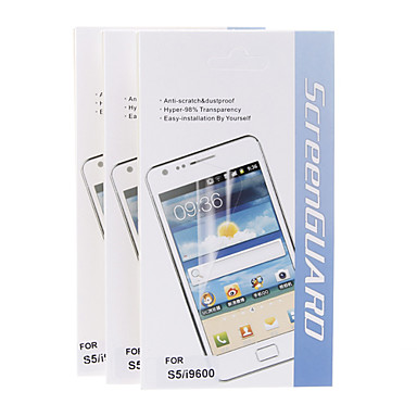 3adet Anti-Scratch & Samsung Galaxy S5 I9600 için toz geçirmez Hyper-% 98 Şeffaflık Ekran Koruyucu