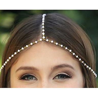 Kadınlar için İmitasyon İnci Altın Alaşım Headbands (1 Pc) ile etnik Zinciri