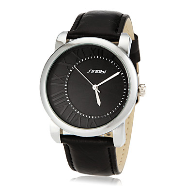 Men's Asymmetrical Dial Number Round Dial PU Band Quartz Analog Wrist Watch (Assorted Color) Cool Watch Unique Watch