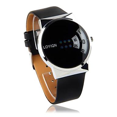 Black PU Leather Watchband Round Metal Gent Wristwatch  Cool Watches Unique Watches