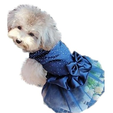 cheap Dog Clothing & Accessories-Cat Dog Dress Dog Clothes Sequin Red Blue Golden Nylon Costume For Bulldog Shiba Inu Pug Spring &  Fall Summer Women's Birthday Holiday Wedding