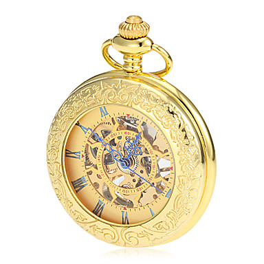 Men's Pocket Watch Mechanical Watch Japanese Mechanical manual-winding Gold 30 m Hollow Engraving Analog Luxury Vintage - Golden Two Years Battery Life