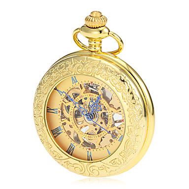 Bărbați Ceas de buzunar ceas mecanic Japoneză Mecanism manual Auriu 30 m Gravură scobită Analog Lux Vintage - Auriu Doi ani Durată de Viaţă Baterie