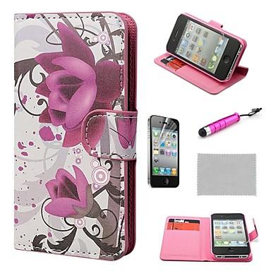 IPhone 4S için stand ile COCO FUN ® Mor Gül Çiçek Cüzdan PU Deri Kılıf Film Ve Stylus Dahil
